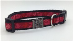 Silverfoot -Collier Ajustable pour Animaux- Feuille Rouge