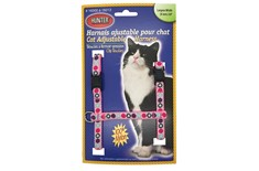 Harnais de Nylon Ajustable pour Chats Pois Rose - Hunter Brand