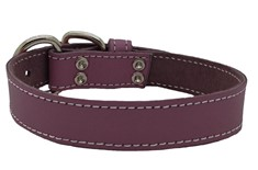 Collier Mauve en Cuir Simple pour Animaux - Arizona